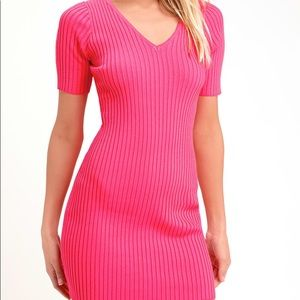 NWT Lulu's Hot Pink Knit Ribbed BodyCon Dress